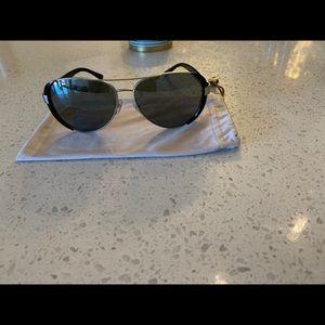 Tory Burch Sunglasses Silver Black Metal